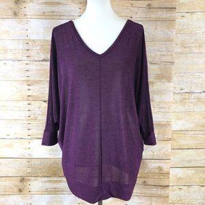 Lane Bryant Purple Long Sleeve Tunic Sz 14/16